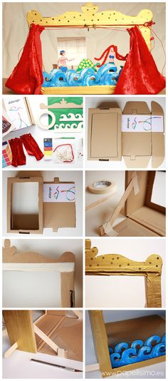Children's theater crafts with cardboard box structure Craft Activities For Kids, Projects For Kids, Diy For Kids, Crafts For Kids, Paper Puppets, Paper Toys, Fun Crafts, Diy And Crafts, Cardboard Box Crafts