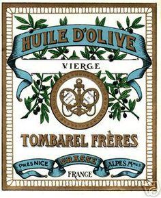 VINTAGE FRENCH OLIVE OIL LABEL TOMBAREL FRERES GRASSE