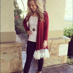 "❤️ 2 X Host Pic❤️Lace  Hemmed Cardigan Burgundy Cardigan with lace hem. 35"" in length. 95% rayon, 5% spandex. Lightweight. Please do not purchase. Comment size for your own listing for purchase. 🚫 trades ✅ bundle discount only Trindy Clozet Boutique Jackets & Coats"