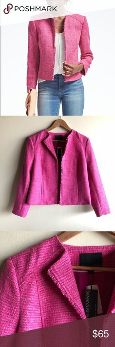 """Banana Republic pink boucle collarless jacket Super cute and perfect for spring! Brand new with tags, size 10. One hook and eye closure. Fringe trim, side pockets.  19"""" underarm to underarm  21"""" long Banana Republic Jackets & Coats"""