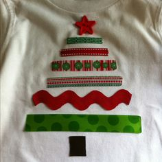 DIY Kids Christmas Shirt - I used heat 'n bond to adhere ribbon to shirt and sewed a star button on top. SO easy and absolutely adorable!