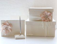 Wedding card box, guest book and pen set - (Custom Made to Order) Money Box Wedding, Card Box Wedding, Wedding Guest Book, Diy Wedding, Silk Flowers, Colorful Flowers, Wedding Pillows, Guest Book Sign, Flower Girl Basket