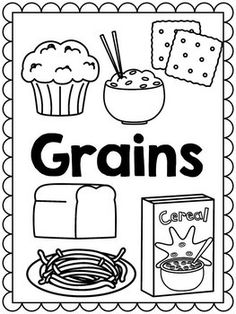food groups coloring page breads and grains  school