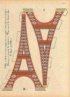 Molde Miniatura Torre Eiffel - Mini Eiffel Tower Printable