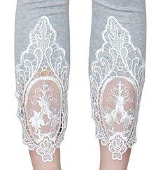 Trendige 7/8 Damen Leggings mit Häkel Spitzen Netz Stoff am Knöchel - Farbauswahl - YLG089-091 (YLG089)