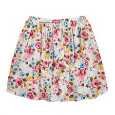 Trousers & Skirts | Painterly Rose Button Front Skirt | CathKidston