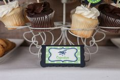 Airplane Vintage Food Tents Baby Shower- Navy & Green