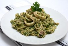 squid with orzo - greek traditional risotto-like recipe