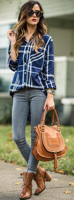 Affordable Plaid Button-up Fall Streetstyle Inspo by Sequins & Things
