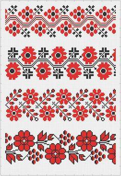 Квіткові бордюри Beaded Cross Stitch, Cross Stitch Borders, Cross Stitch Flowers, Cross Stitch Designs, Cross Stitch Patterns, Beaded Embroidery, Cross Stitch Embroidery, Embroidery Patterns, Bordado Popular