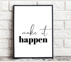 Make it happen print Entrepreneur poster Motivational Wall | Etsy