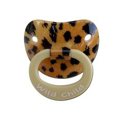cheetah binky , wild child. This is exactly what my kid needed. Would buy it for her but I'm trying to get her off her binky as soon as possible not buy her new ones/