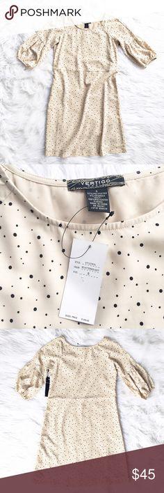 NWT Vertigo Paris scattered dot dress Scattered dot print shift dress, size small from Vertigo Paris. Puffed long sleeved, fully lined. Brand new with tags! Vertigo Paris Dresses Mini