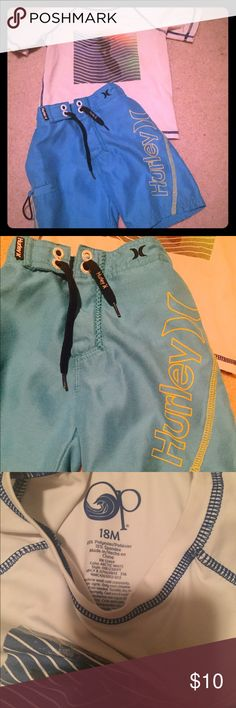 Hurley board shorts and op swim shirt. Elastic and tie waist Hurley board shorts and OP swim shirt. Both used. Bottoms look good, don't see any flaws. Shirt is slightly more used looking. Both say 18 months. My little wore them up to 2T Hurley Swim Swim Trunks