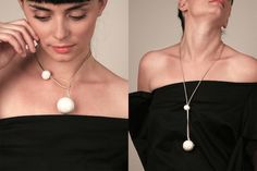 Ceramic necklace with a minimal design composed of a large hollow ball and a smaller one, handcrafted and tied together by a leather string. The COSTELLINO balls in the pearl version have been painted by hand and put into the oven for a third time at 700 degrees. It may be worn as a pendent or a choker, letting the smaller ball run along the leather string to join the larger one. Light and versatile it is perfect for every style.
