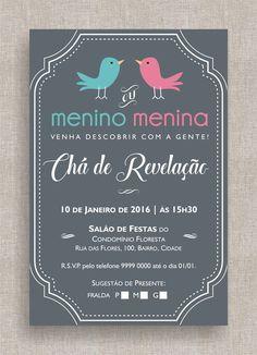 Convite Digital Chá de Fraldas 33 Convite Chá de Revelação, tema retrô, listrado, diferente, moderno, colorido, elegante, passarinhos.