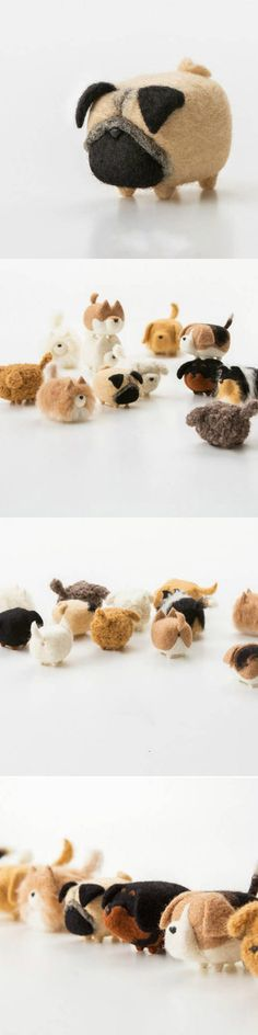 Handmade felted felting project cute animal Pug dogs puppy felted wool doll