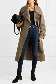 Blue stretch-denim Button and concealed zip fastening at front modal, cotton, polyester, elastane Machine wash Designer wash: Carmen Imported Cute Casual Outfits, Girl Outfits, Fashion Outfits, Women's Fashion, Spring Outfits, Winter Outfits, Skinny Fit, Skinny Jeans, Classic Trench Coat