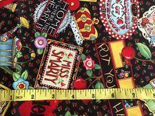 """Fabric Mary Engelbreit Mottos Black 2 Yards 44"""" Wide Cherries Hearts Scotties #maryengelbreit #bowlofcherries"""