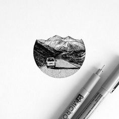 Work by @amanda_piejak #landscape #mountains #black #drawing #dots…