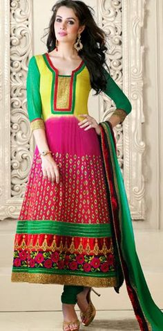 $110.84 Multi Color Faux Georgette Embroidery Anarkali Salwar Suit 26668