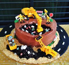 kids construction themed party birthday cake
