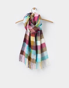 Bracken Multi Gingham Woven Scarf , Size One Size | Joules US