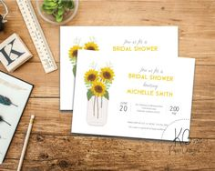 Sunflower Bridal Shower Invitaiton by KBPaperDesigns | Sunflowers | Mason Jar Invite | Etsy