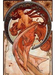 """Shop Alphonse Mucha """"Dance"""" Art Nouveau Print 12 x 16 created by ritzavenue. Posters Vintage, Retro Poster, Vintage Art, Vintage Canvas, Mucha Art Nouveau, Alphonse Mucha Art, Tanz Poster, Design Art Nouveau, Painting Prints"""