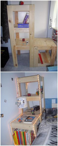If your kids have a habit of throwing their books all around the room, then do help them a bit by arranging an exciting wood pallet shelving unit in their room. Such creation of shelving unit is divided into various portions of the shelves where you can easily set all your paper work and books.