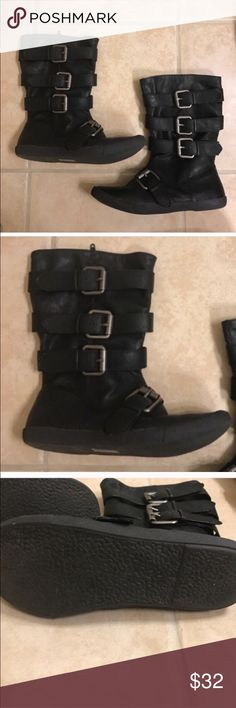 Blowfish black strappy Moto boots size 6 Blowfish size 6 black strappy Moto boots Blowfish Shoes Combat & Moto Boots