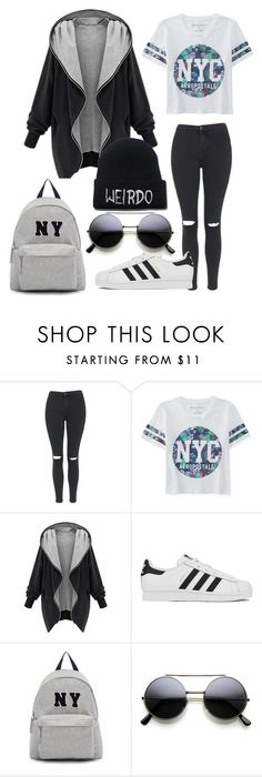 """""""outfit #3"""" by ary-polyvore-outfits ❤ liked on Polyvore featuring Topshop, Aéropostale, adidas, Joshua's, women's clothing, women, female, woman, misses and juniors"""