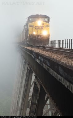 ''Getting up early does have its advantages. Capturing an image of train crossing the Copper Creek Viaduct in the fog has always been an inter.'' Entering or comming out you never know. Railroad Bridge, Railroad Tracks, Train Tracks, Train Rides, Csx Transportation, Old Trains, Train Pictures, Train Journey, Diesel Locomotive