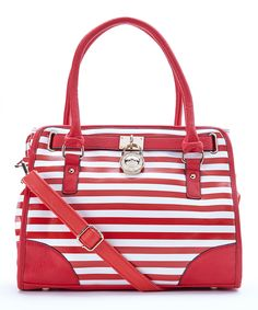 Red & White Stripe Satchel