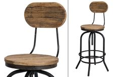 Industrial BAR STOOL with natural elm wood swivel seat & back -- $124.50