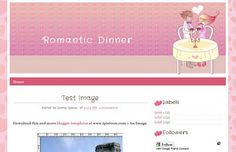Blogger Template Romantic Dinner, couple theme series. Pink, love, heart, suitable for romantic couple. Share your love story, lovable moment to your friend on your blog