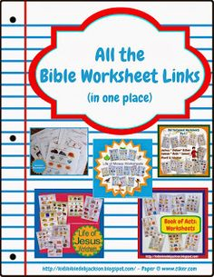 As requested, links in one place for all the Bible worksheets available!