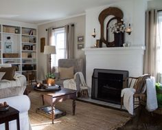Love this neutral living room with lots of farmhouse appeal kellyelko.com