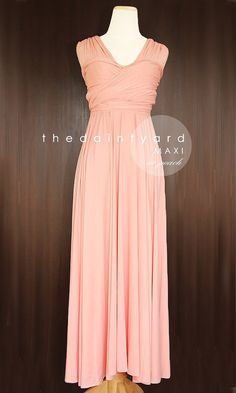 MAXI Peach Bridesmaid Convertible Dress Infinity Multiway Wrap Dress Wedding Dress Light Apricot Pastel Full Length $50