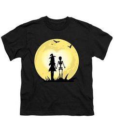 Romantic Halloween Witch And Skeleton T-shirt - Youth T-Shirt