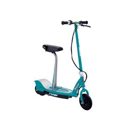 This Razor E200s Seated Electric Scooter includes a comfortable, easily removable, padded seat post. With its high-torque, ultra-quiet, single-speed, chain-driven motor, zip around the neighborhood with this seated electric scooter.