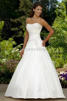 Custom-Made 2011 sexy modest A lline strapless court train satin beaded corset Wedding Dresses gowns