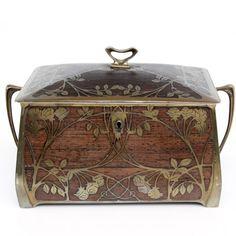 Pasarel - Art Nouveau Erhard & Söhne Brass Inlaid Burr Walnut Jewelry Box, Germany, 1905. $1600.00