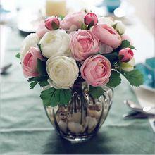 (10heads/bunch)  New.Silk / Simulation / Artificial flower Camellia Romantic,pink Wedding/Bridal bouquet.(China (Mainland))