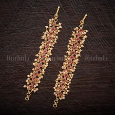 Designer Silver temple matils studded with ruby synthetic stones & pearls plated with gold polish made of copper alloy! Jewelry Design Earrings, Gold Earrings Designs, Gold Jewellery Design, Silver Jewellery Indian, Kerala Jewellery, Silver Jewelry, India Jewelry, Silver Earrings, Ear Chain