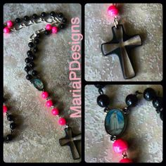 Couture black and hot pink rosary with Swarovski crystal cross by MariaPDesigns