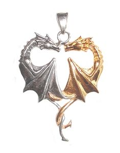 Artist Anne Stokes designed this beautiful sterling silver pendant depicting two dragons in a heart-shaped embrace.  The subtle magic of the Golden Dragon merges with the protection offered by the Silver Dragon as they become one perfect being.