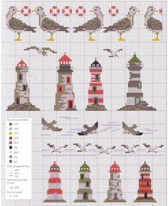 lighthouses, seagulls, cross stitch