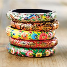 Kashmiri Floral Bangles - Set of 5 from @National Geographic Store