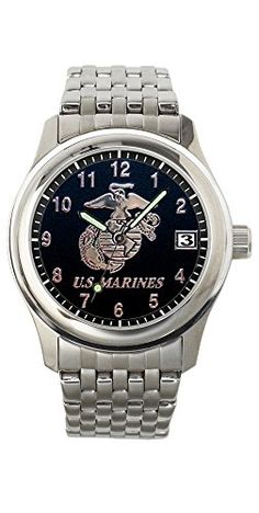 Aqua Force Marines Frontier Watch with 40mm Black Face and Stainless Steel Band >>> Details can be found by clicking on the image.